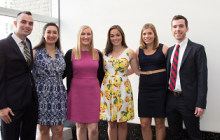 PAF 2014 Cohort at their commencement celebration in May. From left to right, Tim Savoy, GWSPH BS '12, MPH '14, Michelle Suarez,