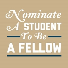 image to link to nominate a student to be a GW Presidential Fellow