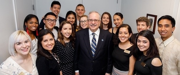 image of Presidential Fellows and President LeBlanc